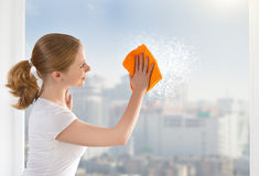 La casalinga felice della ragazza lava una finestra Fotografie Stock