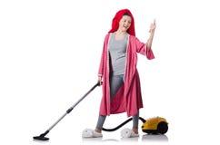 La casalinga isolata su fondo bianco Fotografie Stock Libere da Diritti