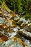 La cascada de Apa Spanzurata en la garganta de Latoritei Foto de archivo libre de regalías