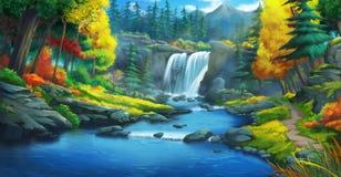 La cascada Forest Fiction Backdrop Arte del concepto Ilustración realista stock de ilustración