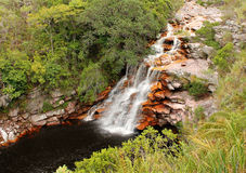 La cascade à écriture ligne par ligne du diable dans Chapada Diamantina, Brésil. Photos stock