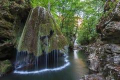 La cascade de Bigar tombe dans des gorges parc national, Roumanie de Nera Beusnita Images libres de droits