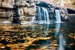 La cascade et les feuilles tomb?es image stock