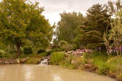 La cascade fait un pas dans l'étang Images stock