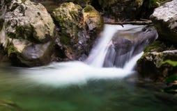La cascade tombe au-dessus des roches moussues Photo libre de droits