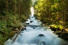 La cascata cade sopra le rocce muscose fotografie stock