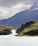 La cascata della montagna della schiuma Fotografia Stock