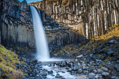La cascata incredibile di Svartifoss Immagini Stock Libere da Diritti