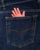 La casella dei jeans e della palma di documento Fotografia Stock Libera da Diritti