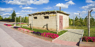 La caserne est bâtiment d'adobe pour des femme-prisonniers dedans Images stock