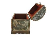 La cassa di tesoro isolata, si apre (vista di profilo) Fotografie Stock Libere da Diritti
