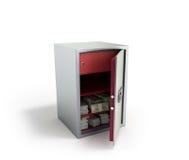 La cassaforte della Banca con le pile dei soldi di banconote in dollari 3d rende su bianco Fotografie Stock Libere da Diritti