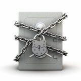 La cassaforte ha avvolto una catena con un grande castello del granaio Fotografia Stock Libera da Diritti