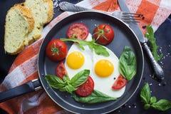 La casserole d'oeufs au plat, le basilic et les tomates avec du pain sur la table métallique grunge apprêtent images stock