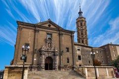 La catedral de la basílica de nuestra señora del pilar imagen de archivo