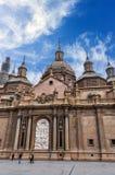 La catedral de la basílica de nuestra señora del pilar Imagenes de archivo