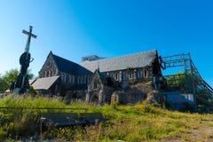 La catedral de Christchurch en Nueva Zelanda es dañadísima en el terremoto de febrero de 2011 Imágenes de archivo libres de regalías