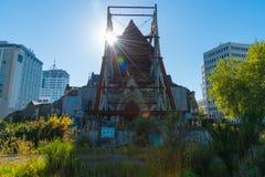 La catedral de Christchurch en Nueva Zelanda es dañadísima en el terremoto de febrero de 2011 Fotografía de archivo
