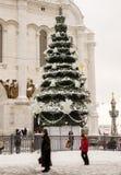 La catedral de Cristo el salvador en invierno Imagen de archivo libre de regalías