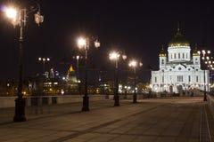 La catedral de Cristo el salvador en la noche Imágenes de archivo libres de regalías