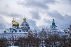 La catedral de la resurrección en el nuevo monasterio de Jerusalén en Istra, región de Moscú, Rusia Foto de archivo libre de regalías