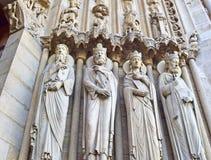 La catedral de los detalles de París, Francia de Notre Dame, el 15 de abril de 2015, una de la señal más famosa Foto de archivo libre de regalías