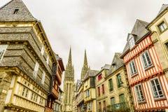 La catedral de Quimper, Finistere, Bretaña, Francia Fotos de archivo