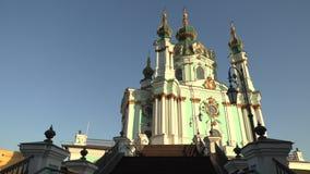 La catedral de St Andrew hermoso en Kiev, Ucrania, vídeo de la cantidad 4k metrajes