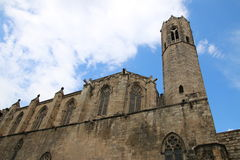 La catedral del mar, Barcelona. Side view of Santa Maria del Mar, known as the Cathedral of the Sea, in Barcelona, church that inspired a book by the same name royalty free stock image