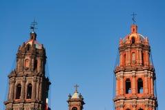 La catedral se eleva detalle en San Luis Potosi foto de archivo libre de regalías
