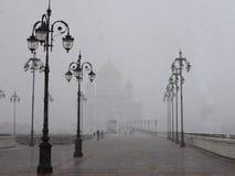 La catedral y la nieve Imagenes de archivo