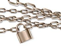 La catena del metallo ed il lucchetto marroni realistici, carta ammanettata Immagine Stock