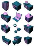 La catena di rifornimento ha impostato nella porpora blu royalty illustrazione gratis
