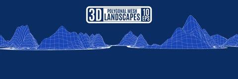 La catena montuosa è un'onda poligonale illustrazione di stock
