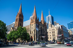 La cathédrale Anglicane de St Paul à Melbourne Photographie stock libre de droits