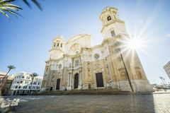 La cathédrale de Cadix a construit entre 1722 et 1838, Andalousie, Espagne Images libres de droits