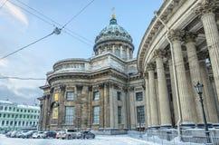 La cathédrale de Kazan sous la neige Images stock