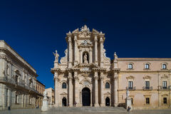 La cathédrale de Syracuse ou de Duomo di Siracusa sicily L'UNESCO Photographie stock libre de droits