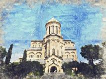 La cathédrale de trinité sainte de Tbilisi, la Géorgie Digital Art Impa illustration libre de droits