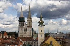 La cathédrale de Zagreb photo stock