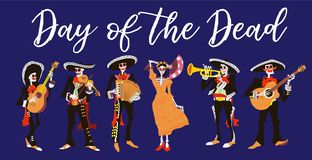 La Catrina and el mariachi musicians. Day of the dead or halloween isolated vector illustration. stock illustration