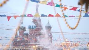 La cattedrale del basilico della st o cattedrale di Vasily benedetta o cattedrale dell'intercessione del Theotokos più santo sopr stock footage