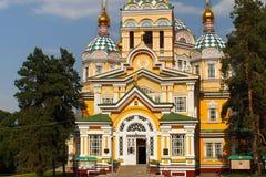 La cattedrale di ascensione a Almaty, il Kazakistan fotografia stock