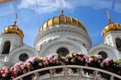 La cattedrale di Cristo il salvatore nel telaio dei fiori Immagini Stock Libere da Diritti