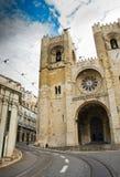 La cattedrale di Lisbona o lo Sé de Lisbona, la più vecchia chiesa della città Fotografie Stock