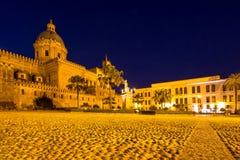 La cattedrale di Palermo alla notte, Italia Fotografia Stock