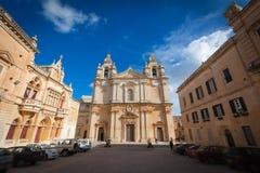 La cattedrale di St Paul in Mdina Immagini Stock