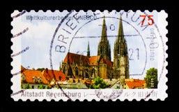 La cattedrale St Peter, Regensburg ha costruito 1273-1520, patrimonio mondiale dell'Unesco colloca il serie, circa 2011 Fotografia Stock Libera da Diritti