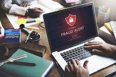 La cautela di allarme di frode difende la guardia Notify Protect Concept Fotografia Stock Libera da Diritti