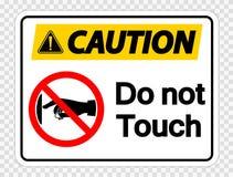 la cautela di simbolo non tocca l'etichetta del segno su fondo trasparente royalty illustrazione gratis